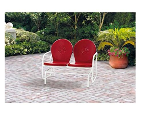 This Metal Vintage Porch Glider, Acts As a Timeless Piece of Outdoor Patio Furniture for Your Garden, Lawn, Deck, or Backyard Living Space for Years to Come. Swing Chairs Will Seat 2. Made By Mainstays. Classic Red (Glider Metal Vintage)