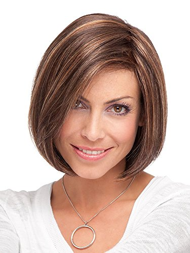 Ladies Straight Bob Wig Coffee Blonde Highlights Mixed Color Short Full Wig For Women