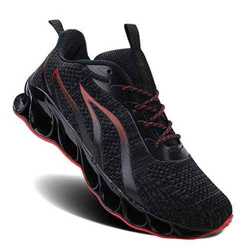 Men Athletic Shoes Black&Red Mesh Blade Running Walking Sneakers, 10