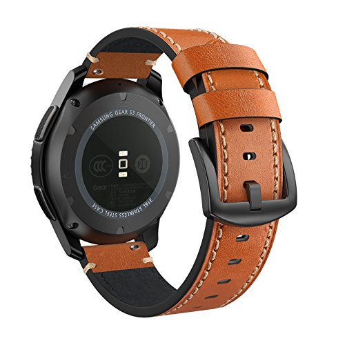 Swees Leather Bands Compatible Gear S3 Frontier/Classic, 22mm Genuine Leather Band Buckle Strap Replacement Wristband Compatible Samsung Gear S3 Frontier/Classic Smart Watch, Brown by SWEES (Image #2)