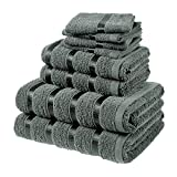 Luxury Bathroom Towel Bales Set [ 4 Small Face Wash Cloths, 2 Hand Flannel, 2 Large Bath Sheets ] 100% Fluffy Cotton | 8 Piece Super-Soft Bundle Pack- Charcoal