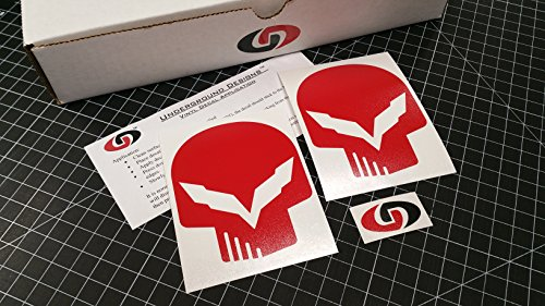 UNDERGROUND DESIGNS C7 Skull Decal Corvette Jake Skull Sticker Z06 Z07 LT1 LT4 SELECT Color (Gloss Red)
