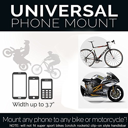 Bike & Motorcycle Cell Phone Mount Safeness & Comfort for IPhone 6(+) 7 6S plus, Samsung GalaxyS5/S6/S7 Note 3/4/5,Any Smartphone&GPS Universal Mountain&Road Bicycle Handlebar Cradle Holder