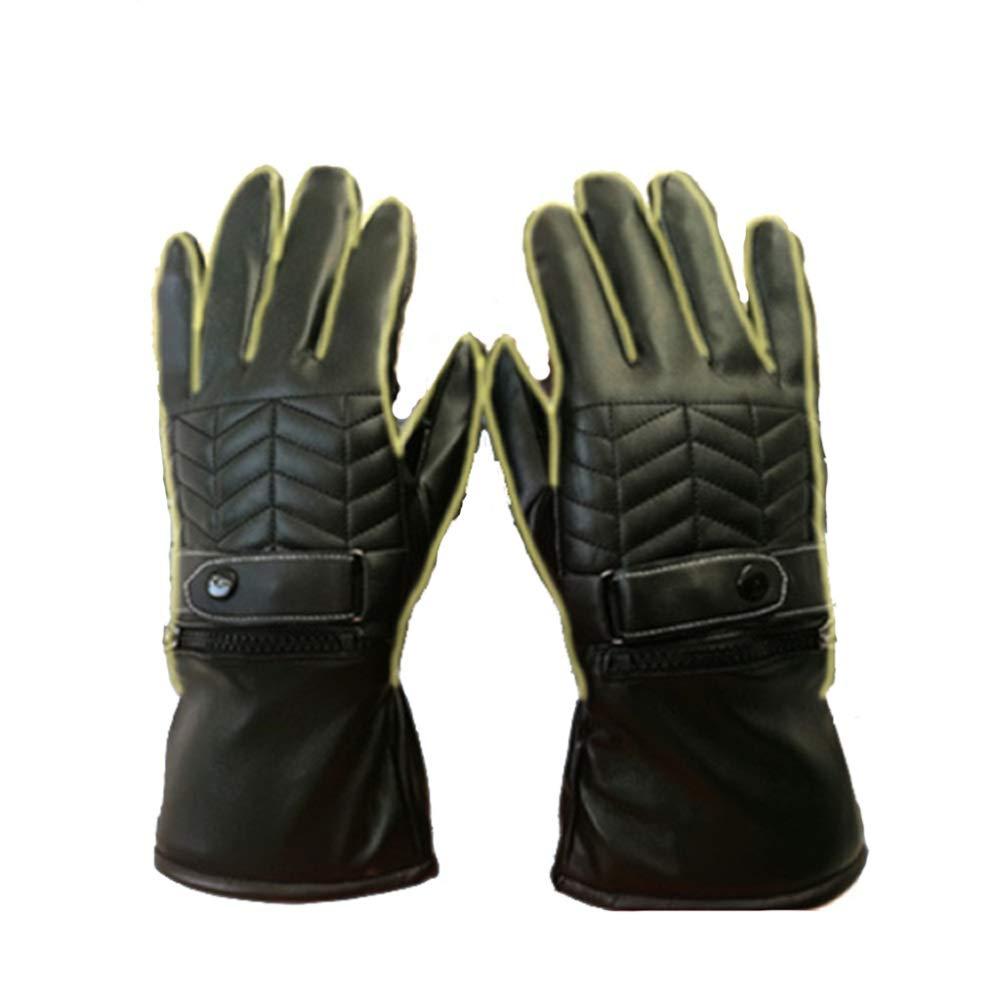 Qzp Elektrische Handschuhe Winter Elektroauto Motorrad Fahren Wiederaufladbare Lithium-Batterie Lederhandschuhe Männer Und Frauen,schwarz(Male)