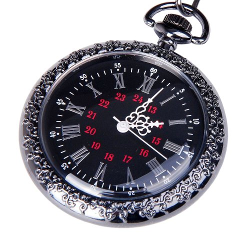 Face Pocket Watch Chain (Pocket Watch Black Dial Open Face Roman Numerals with Chain Vintage Design Classic Engravable PW-24)