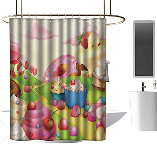 homehot Shower Curtains Beach Blue Modern,Yummy Donuts Sweet Land Cupcakes Ice Cream Cotton Candy Clouds Kids Nursery Design,Multicolor,W72 x L96,Shower Curtain for Girls Bathroom