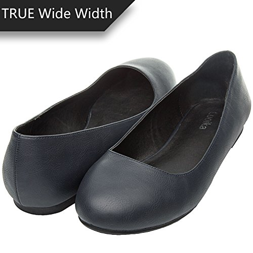 Shoes Leather Flat Slip Wide Women's Ballet Round Luoika Width On Toe Flats Comfortable Blue SFfIxRq