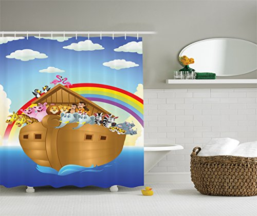 (Ambesonne Noah's Ark Decor Collection, llustration of Cute Animals in Noah's Ark Sailing in Sea Ship Old Story Sunset Rainbows, Polyester Fabric Bathroom Shower Curtain, Blue Red Yellow)