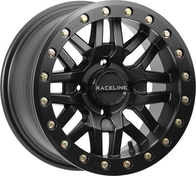 Raceline A91B-47056-52 Ryno Beadlock Front/Rear Wheel - 14x7 - 5+2 Offset - 4/156 - Black (14x7) by Raceline