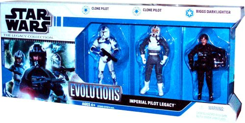 (Hasbro Star Wars The Legacy Collection Evolutions 3 Pack 4 Inch Tall Action Figure - IMPERIAL PILOT LEGACY with Clone Pilot from