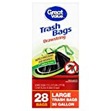 Great Value 30 Gallon Large Drawstring Trash Bags, 28 ct (Pack of 3)