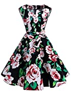 IVNIS Women's Vintage 1950s Semi Fixed Belt Rockabilly Swing Dresses with Pockets