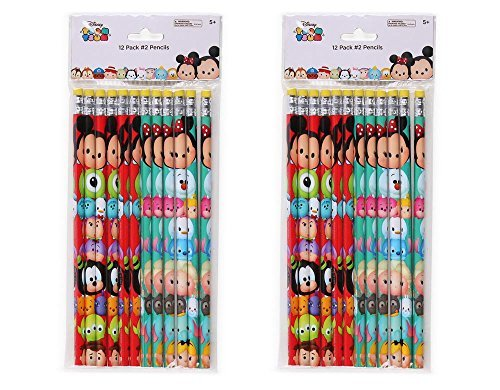 2-Pack Set 12ct Disney Tsum Tsum Wood #2 Pencils (24 Total)