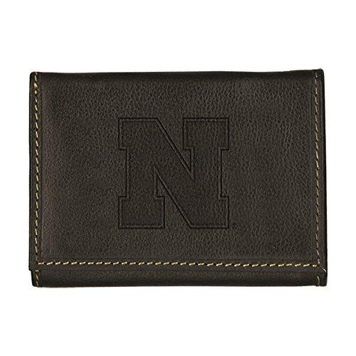 University of Nebraska Contrast Stitch Trifold Leather Wallet (Black)