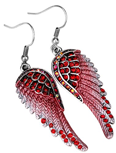 - Angel Jewelry Women's Crystal Angel Wings Dangle Earrings