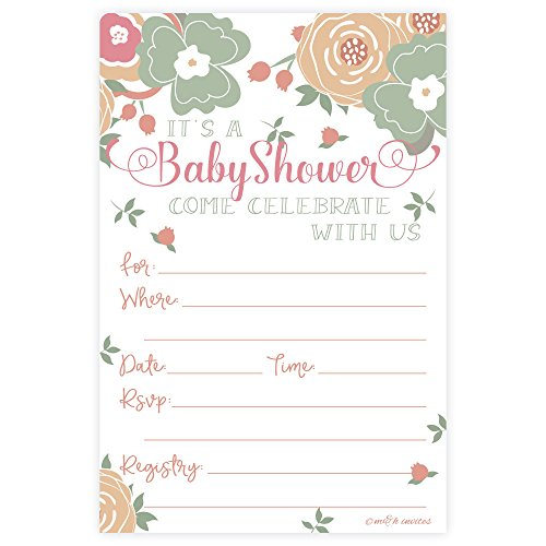 Lovely Floral Baby Shower Invitations - Fill In Style (20 Count)
