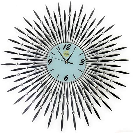 Gorgeous Wall Art Decorative Clock Stylish Wall Clock with Black Metal Sunburst Shape for Living Room White Glass Dial 27