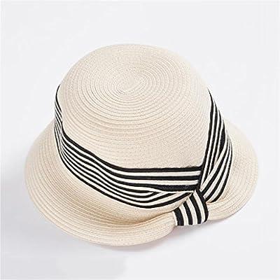 d1448525c6256 YXINY Viseras Sombreros Mujer Primavera Y Verano Visor Elegante Protección  Solar Sombrero para El Sol Vacaciones Sombrero De Paja (Color   Beige)