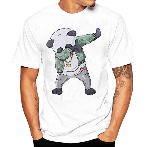 iLOOSKR Four Seasons Men's Fashion T-Shirt Cartoon Printed Cotton Blouse Tops(White,M)