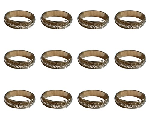 ARN Craft Handmade Gold Napkin Rings Set of 12 Engraved Brass Design for Home Kitchen Dining Room Table (CW- 11-12)