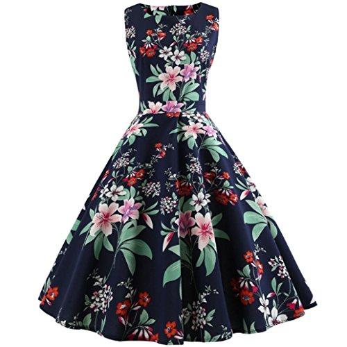 (Women Vintage Printing Dress, AgrinTol Bodycon Sleeveless Halter Evening Party Prom Swing Dress )