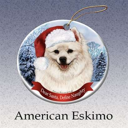 - Holiday Pet Gifts American Eskimo Santa Hat Dog Porcelain Christmas Ornament