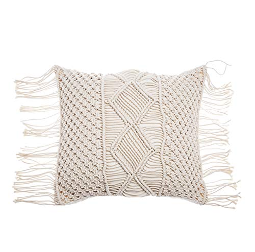 RISEON Bohemia Handmade Cotton Macrame Fringe Throw Pillow Cases Cover Pillowcases for Couch Sofa Boho Home Decor gift-18 x 18 inches,Off White (D)