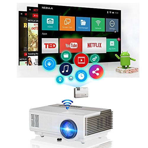 Pocket Smart Wifi Wireless Mini Projector 1500lumen with HDMI Built-in Speaker Support 1080p HD Airplay Screen Mirror, Multimedia Digital Portable Video Projector for Gaming Basement Movie Art Tracing by WIKISH