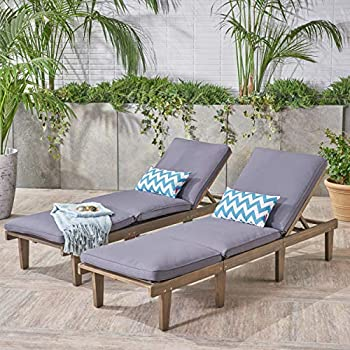 99e3734a424 Great Deal Furniture Alisa Outdoor Acacia Wood Chaise Lounge with Cushions  (Set of 2)