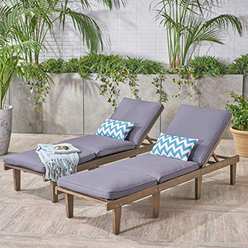 Great Deal Furniture 304426 Alisa Outdoor Acacia Wood Chaise Lounge with Cushions (Set of 2), Dark Grey, Finish