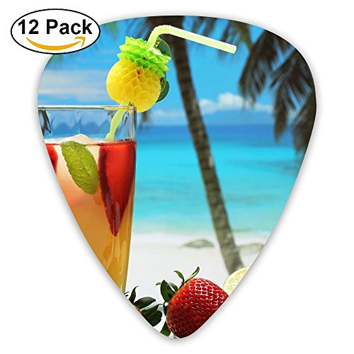 (12-pack Fashion Classic Electric Guitar Picks Plectrums Fruity Cocktail Picture Instrument Standard Bass)