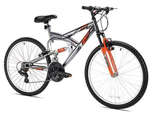 Northwoods Aluminum Full Suspension Mountain Bike, 26-Inch, Grey/Orange (Best Mens Mountain Bike Under 200)