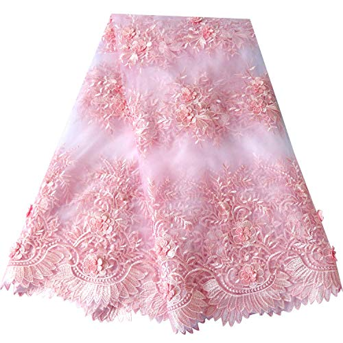 3D Flower Rhinestones Beads African Lace Fabrics 5 Yards Nigerian French Lace Fabric with Fashion Eco-Friendly Tulle Embroidery for Party Dress Wedding Dress (Pink)