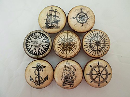 Set of 8 Old World Nautical Cabinet Knobs (Set 1)