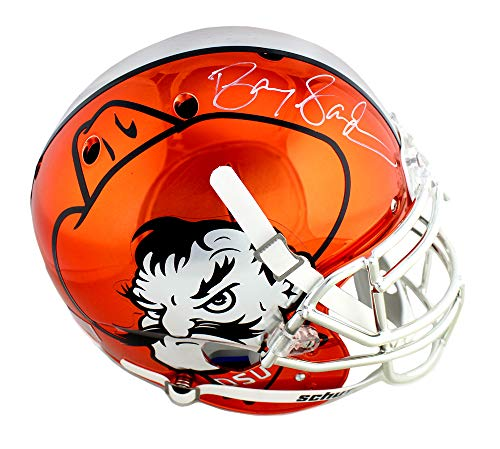 Barry Sanders Autographed/Signed Oklahoma State Cowboys Schutt Throwback Authentic NCAA Orange Chrome Helmet