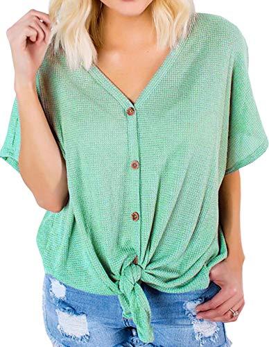 Defal Women Short Sleeve Knitting Henley Shirt Front Tie Top(Bright Green,L) ()