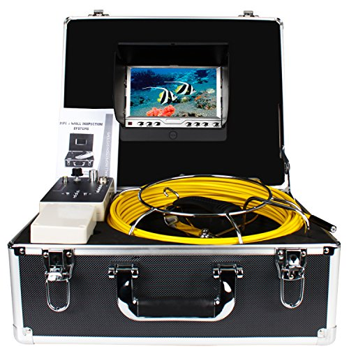 Underwater Drain Sewer Inspection Camera Anysun Waterproof IP68 30m Industrial Endoscope Inspection System 9mm Diameter 7 Inch LCD Monitor Sony CCD DVR Recorder Snake Camera(8GB TF Card Include)
