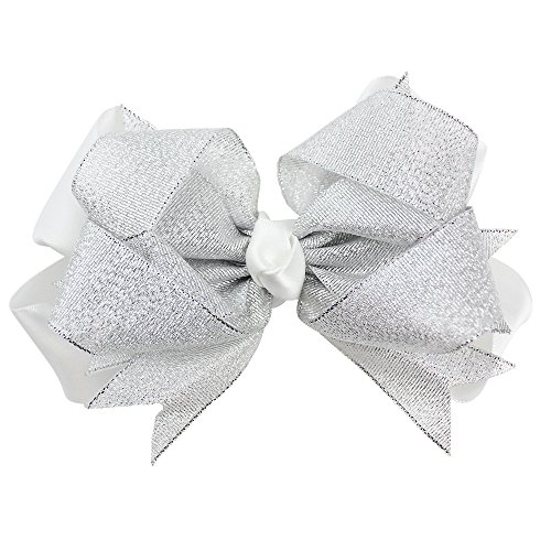 juDanzy Holiday Hair Clips & Bows in Easter, Valentines, Thanksgiving & Christmas themes for baby, toddler & Girls (Silver Shimmer Bow)