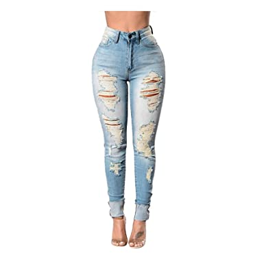 ad478da2ae Kehen New Women s High Waisted Skinny Destroyed Ripped Trousers Hole Denim  Pants Long Stretch Pencil Jeans