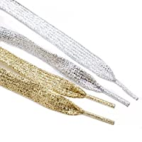 Rugjut 6 Pairs Gold & Silver Metallic Glitter Flat Shoelaces for Canvas Sneaker Athletic 45 inch