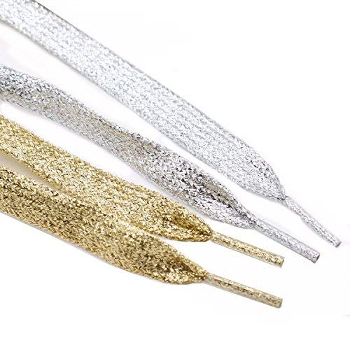 (Rugjut 6 Pairs Gold & Silver Metallic Glitter Flat Shoelaces for Canvas Sneaker Athletic 45 inch)