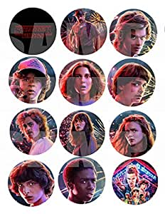 "Stranger Things Stickers, Large 2.5"" Round Circle DIY Stickers to place onto Party Favor Bags, Cards, Boxes or Containers -12 pcs Eleven Mike Dustin Lucas Will Steve Nancy Jonathon Joyce Jim Billy Max"