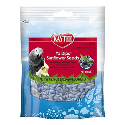 Kaytee Blueberry Flavor Yogurt Dipped Sunflower Seeds for All Pet Birds, 2.5-oz bag