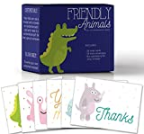 Friendly Animals, Assorted Thank You Note Cards for Kids, Make Your Own Fun Greeting Cards, 6 Customizable Designs, Pack of 36 Blank on the Inside, Bulk Box Set, 36 Envelopes, 6.5 x 5.5 In.