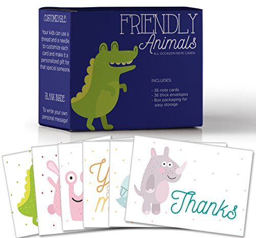 Friendly Animals, Assorted Thank You Note Cards for Kids, Make Your Own Fun Greeting Cards, 6 Customizable Designs, Pack of 36 Blank on the Inside, Bulk Box Set, 36 Envelopes, 6.5 x 5.5 In. ()