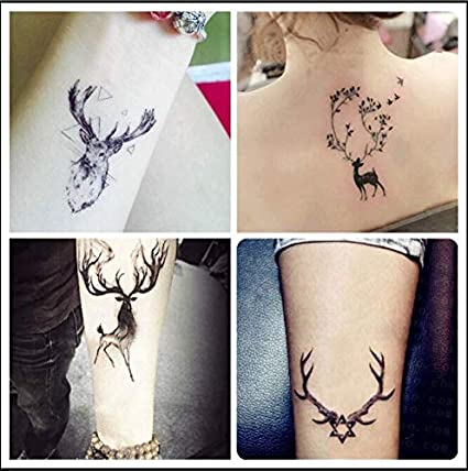 ruofengpuzi Etiqueta engomada del tatuaje Personalidad Elk Asta ...
