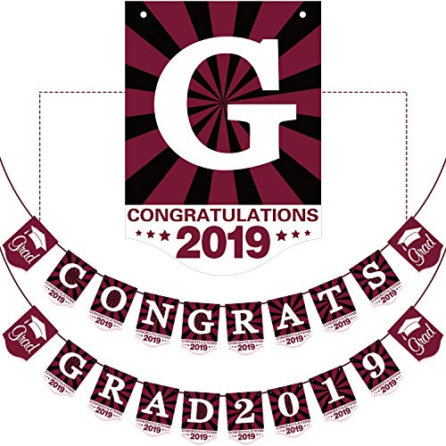 2019 Maroon Graduation Banner - No DIY Required Graduation Party Supplies Decorations, Grad Banner for College, High School Party (Maroon Congrats Grad 2019)]()