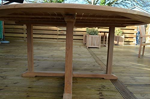 Patio Essentials Dorchester - Mesa redonda de madera (teca, 1, 8 m, patas cruzadas, espacio para 6-8 personas): Amazon.es: Jardín