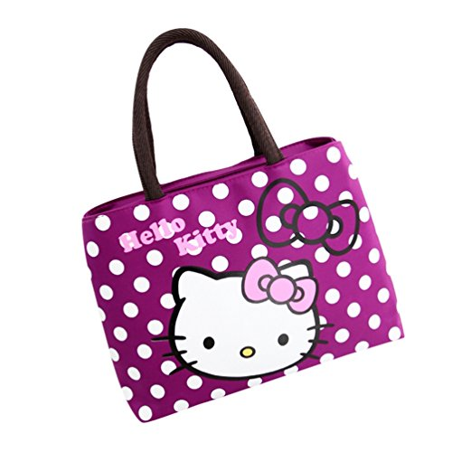Yuanu Large Capacity Cartoon Print Handbags Simple Fashion Transversal Square Casual Women's Bag Purple&cat