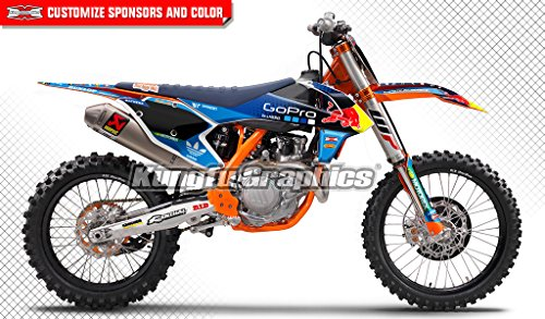 Tld Decal (Kungfu Graphics TLD Custom Decal Kit for 125 150 250 350 450 SX SXF SX-F XC XCF XC-F 2016 2017 2018 (2016 250sx 250xc 300xc is NOT included), Blue)